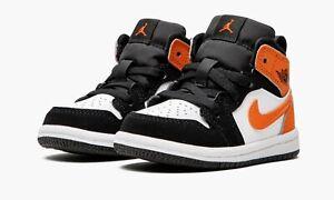 Nike Kids Jordan 1 Mid (TD) Toddler BLACK/STARFISH-WHITE 640735-058 | SIZE: 4C