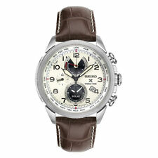 Seiko Men's Prospex Solar World Time Chronograph Leather Strap Watch SSC509