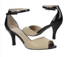 Naturalizer Axis Black Tan Shiny Ankle Strap High Heel Sandal 9.5B NIB!