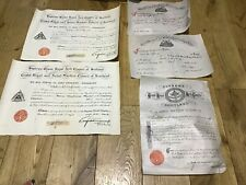 6 No Masonic Documents The Early 1900/10/20s In Vgc