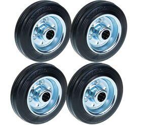 """100mm 4"""" 4 inch rubber wheels steel centered wheels heavy duty - set of 4"""