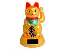 Solar Winkekatze Glückskatze gold Winke Katze H15cm Glücksbringer winkende Katze