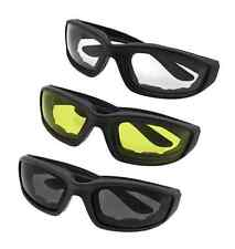3 Pairs Motorcycle Sunglasses Driving Padded Foam Riding Glasses Clear lenses