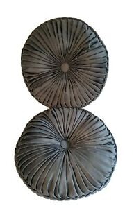 "J Queen New York Round Tufted Decorative Throw Pillow 15"" X 4"" Silver Dark Gray"