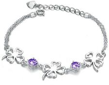 925 Silver Swarovski Element Crystal Four Leaf Clover Bangle Bracelet Chain B8