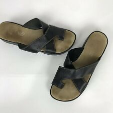Aerosoles Black Slip On Leather Toe Ring Thong Sandals Womens Size 7.5 M