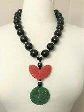 EXQUISITE Black Acrylic Beads, Cinnabar Butterfly & Carved Jade Necklace