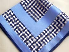 "SPECIAL!  New 14"" Satin 100% Silk Pocket Square  Blue Houndstooth ""Boss"""