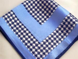 "New 14"" Satin 100% Silk Pocket Square  Blue Houndstooth ""Boss""-D4"