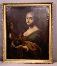 LG 18thC Antique 1700's LADY & MIRROR Old PORTRAIT Oil PAINTING Wood FRAME