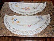 Vintage Lace Linen Shelf Mantle Doilies Set Butterfly Flowers Home Decor