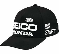 100% Men's Geico Honda Speedway Flexfit Hat S/M Black