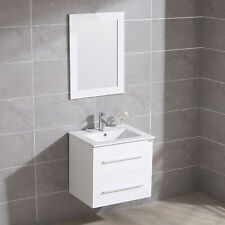 "24"" Wall Mount Bathroom Vanity Floating Sink Cabinet + Mirror & Faucet Single"