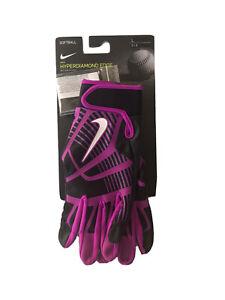 NIKE HyperDiamond Edge NEW Unisex Size L PINK & Black Softball Batting Gloves