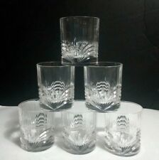 Heavy Crystal Optic Rib Double Old Fashioned Glasses Cut Fan & Arches ~ Set of 6