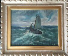 "Original Oil On Canvas Painting Signed ""v Berk"" Sail Boat On Rough Sea. Framed"