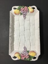 Ceramic Fruit Tray Pottery Italy White Grapes Pears French Country Woven Chic
