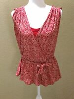 Banana Republic Faux Wrap, Belted Red Print Ladies Top Size S