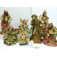 Natività Cm 15 con Vestiti Stoffa in Resina Sacra Famiglia 10 Pz Pastori Presepe