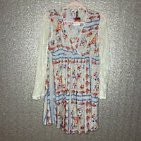 Kori America Womens Sz M Floral Boho Dress Lace Bell Sleeves