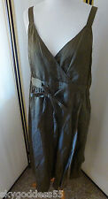 NWT! LIGHT WEIGHT STEEL SATIN EILEEN FISHER V NECK WRAP DRESS OLIVE GREEN 10