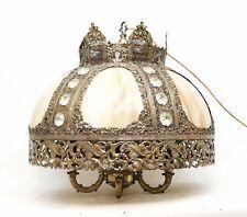 Mid Century Brass & Accurate Cast Filigree Metal Gilt Swag Lamp Jeweled Bakelite