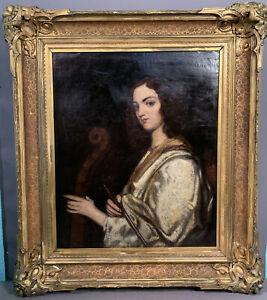 LG 19thC Antique VICTORIAN Era LADY MUSICIAN & CELLO Old PORTRAIT Oil PAINTING