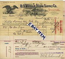 1900 Billhead KANSAS CITY Missouri U.S. WATER & STEAM SUPPLY COMPANY KC Railway