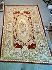 Vintage Hand Made French Aubusson Weave Rug Wool Design w Roses Needlepoint 5x8'