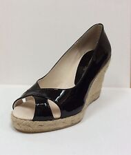 Daniela Polo black patent peep toe wedged court shoes,UK 3/EU 36, RRP £105, BNWB