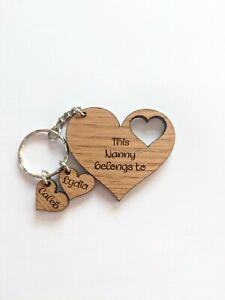 This Nanny Belongs To Keyring, heart engraved name keyring, gift for Gran, Mum