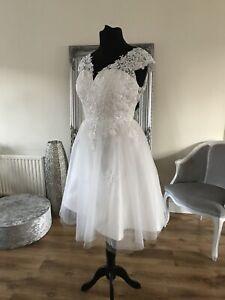 Bridal Gown/Wedding dress,Short Tea Length,Cap Sleeves, Ivory,Size 14,Brand New