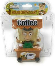 Solar Power Dancing Toys Solar Starbucks Coffee Service Cart Rare Toy Coffee Man