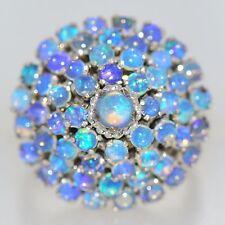 2 CT AUSTRALIAN OPAL RING 14K WHITE GOLD NATURAL VIVID BLUE VINTAGE PRINCESS