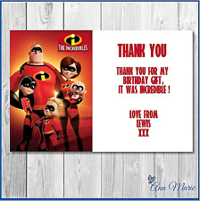 10 x PERSONALISED INCREDIBLES BIRTHDAY THANK YOU CARDS THANKS GIFT PARTY