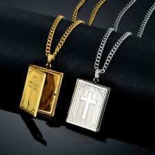 Cross Locket Pendant Necklace for womans mens 14k Gold/925 Silver Plated Couple