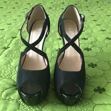 Zapatos De Fiesta Negro Brillantes Puntera abierta Tacones Talla 5.5