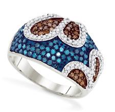 Diamond Cluster Ring 10K White Gold Blue, Chocolate Brown & White Diamonds 1ct