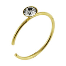 20G 9K Solid Gold Jeweled Open Hoop Nose Ring With Cubic Zirconia