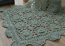 """20"""" Square Hand Crochet Lace Doily Vintage Green Table Cloth Runner Topper"""