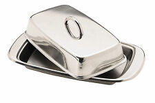 Kitchen Craft Stainless Steel Butter Dish with  Cover / Lid 18.5 x 10 cm appro