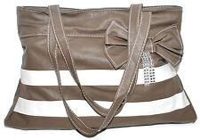 Charming Women Shoulder Bag Purse Top Zipper closure double handle handbag Brown