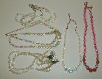 Estate Lot of Vintage Austrian Crystal Bead Necklaces Aurora Borealis Pink Green