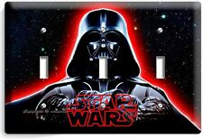 DARTH VADER RED GLOW HALMET STAR WARS DARK FORCE TRIPLE LIGHT SWITCH COVER DECOR