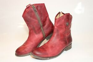 Frye 3477908 Melissa Short Red Womens 8 B Leather Side Zip Western Boots