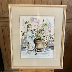 Original Framed Glazed Watercolour Painting Loose Figurative Style Girl Flowers