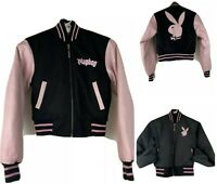 Playboy Pink Black Embroidered Reversible Leather Wool Bomber Bunny Jacket Sz S