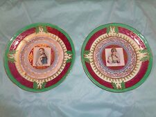 Antique pair of porcelain  cabinet  portrait plates Napoleon & Josephine
