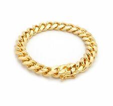 10mm MIAMI CUBAN LINK CHAIN BRACELET BOX LOCK 14K GOLD PLATED