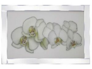 White Orchid flower glitter picture in mirrored frame, Glitter art picture